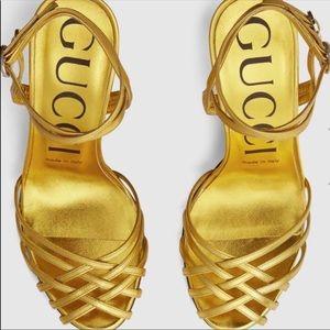 Gucci Draconia Gold Sandals